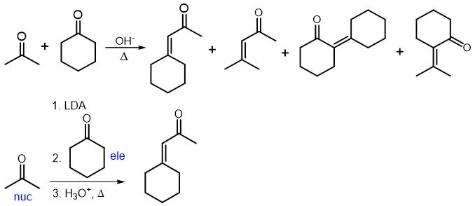crossed aldol reaction using LDA